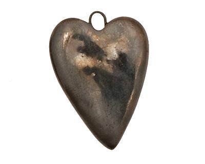 Earthenwood Studio Ceramic Metallic Pewter Heart Pendant 22-23x31mm