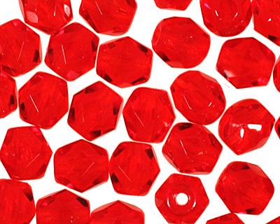 Czech Fire Polished Glass Siam Ruby Round 4mm