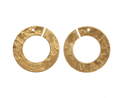 Brass Textured Ring Connector 22mm