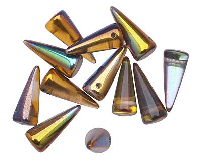 Czech Glass Magic Amber Spike 7x17mm