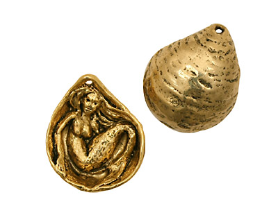 Green Girl Gold (plated pewter) Mermaid Clamshell 20x24mm