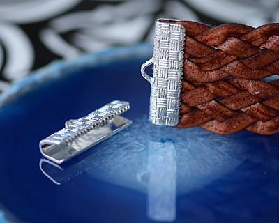 Silver (plated) Basket Weave Ribbon Crimp End 20mm