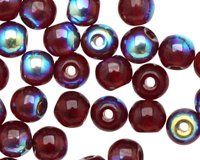 Czech Glass Garnet AB Round 4mm
