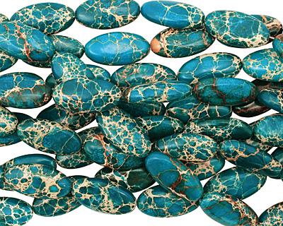 Teal Impression Jasper Flat Oval 30x15mm