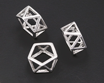 Matte Antique Silver (plated) Geometric Openwork Ring 8x16mm