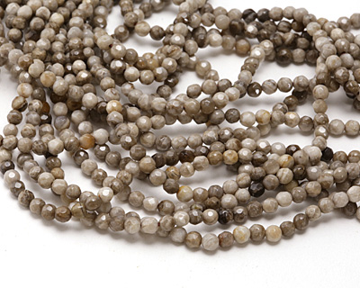 Silver Leaf Faceted Round 4mm