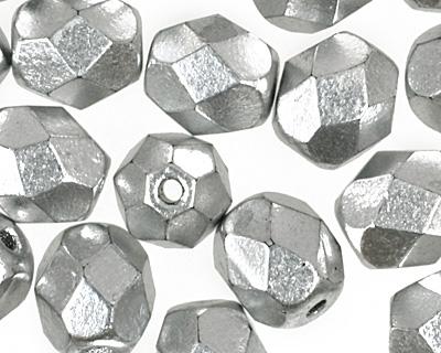 Czech Fire Polished Glass Matte Metallic Aluminum Round 6mm