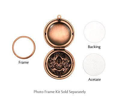Antique Copper (plated) Round Maiden Heirloom Locket 30x35mm