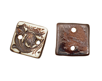 Earthenwood Studio Ceramic Oxidation Small Square Floral Scroll Link 19mm