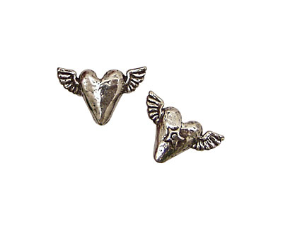 Green Girl Pewter Tiny Flying Heart 19x13mm