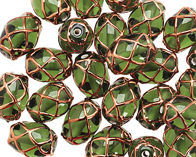 Czech Lampwork Olivine w/ Rose Gold Rice 13-15x10-11mm