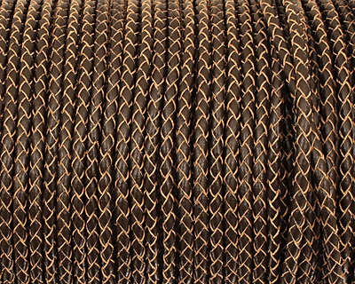 Natural Brown Woven Round Leather Cord 4mm