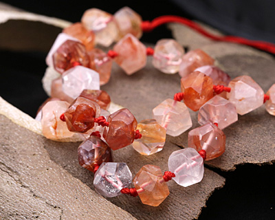 Red Rutilated Quartz Faceted Nugget 7-10x10-12mm