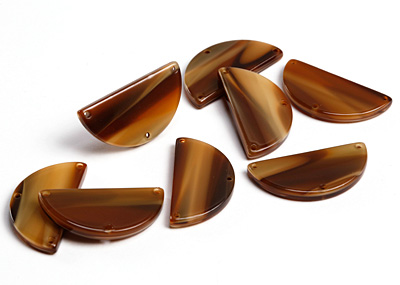 Zola Elements Brown Sugar Acetate Half Circle Y-Connector 30x15mm