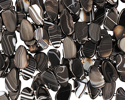 Black Sardonyx Irregular Flat Teardrop 14-18x26-29mm