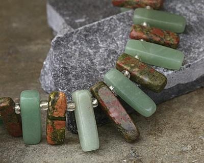 Green Aventurine & Unakite Stick Slice Focal Set 6-8x20-28mm