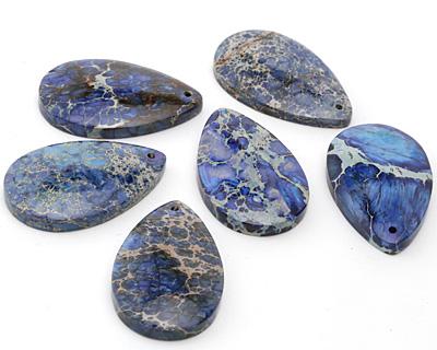 Midnight Blue Impression Jasper Teardrop Pendant 30x48mm