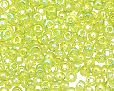 TOHO Transparent Rainbow Lime Green Round 11/0 Seed Bead