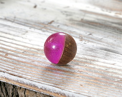 Walnut Wood & Orchid Resin Bead 15mm