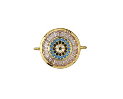 Storm Mix Vintage Style Pave CZ Gold (plated) Coin Focal Link 20x15mm