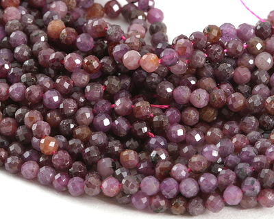 Ruby (AA) Diamond Cut Faceted Round 3mm