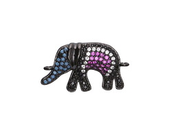 Sangria Mix Pave CZ Gunmetal (plated) Elephant Focal Link 25x15mm