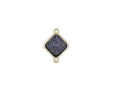 Metallic Nebula Crystal Druzy Diamond Link in Gold Finish Bezel 16x12mm
