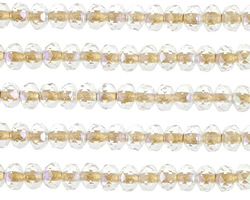 Czech Glass Crystal AB Gold Lined Fire Polished Rondelle 3x5mm