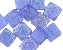 Czech Glass Laser Etched Ammonite on Matte Sapphire w/ Iris Blue Finish Puff Square 10mm