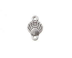 Antique Silver (plated) Scallop Shell Link 16x10mm
