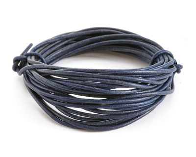 Natural Blue Round Leather Cord 2mm, 16 feet