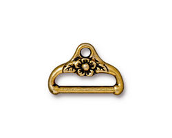 TierraCast Antique Gold (plated) Flower End Bar Link 13x19mm