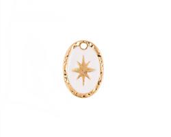 Zola Elements White Enamel Matte Gold Finish Starburst Oval Focal 11x15mm