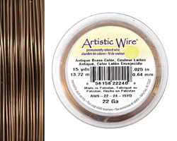 Artistic Wire Antique Brass 22 gauge, 15 yards - Lima Beads