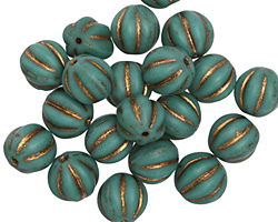 Czech Glass Bronzed Turquoise Melon Round 8mm