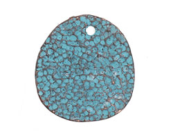 Greek Copper Patina Large Coral Textured Drop 29mm