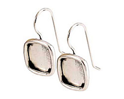 Nunn Design Antique Silver (plated) Small Square Frame Earring 12mm