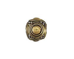 Tibetan Brass & White Brass Domed Cube Bead 17x18mm