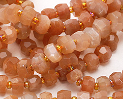 Peach Moonstone Faceted Wheel 3-7x6-9mm
