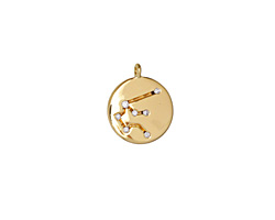 Gold (plated) w/ Crystals Aquarius Constellation Charm 11x13mm