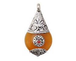 Tibetan Resin Amber & White Brass w/ Red Stone Flat Teardrop Pendant 21x42mm
