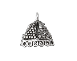 Zola Elements Antique Silver (plated) 6-Sided Dome Tassel Cap w/ Loops 20x19mm
