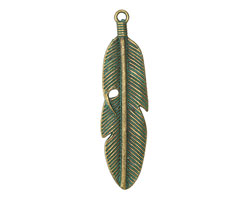 Zola Elements Patina Green Brass (plated) Wrapped Feather Pendant 15x59mm