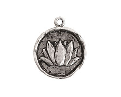 Nunn Design Antique Silver (plated) Round Lotus Charm 20x25mm