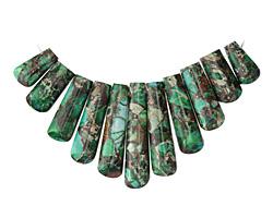 Emerald Impression Jasper & Pyrite Ladder Pendant Set 15-38mm