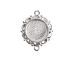 Nunn Design Sterling Silver (plated) Mini Ornate Circle Bezel Link 25x19mm