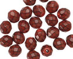 Czech Fire Polished Glass Red Round Snake Beads 8mm