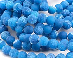 Aqua Blue Fire Agate (matte) Round 10mm