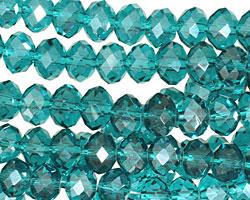 Teal Crystal Faceted Rondelle 8mm