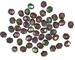 Czech Fire Polished Glass Matte Iris Purple Round 4mm